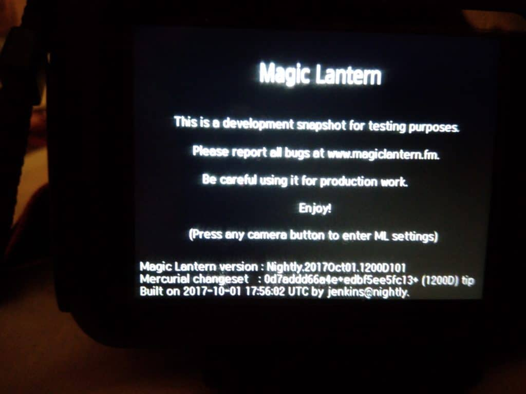 Magic lantern canon 1200D