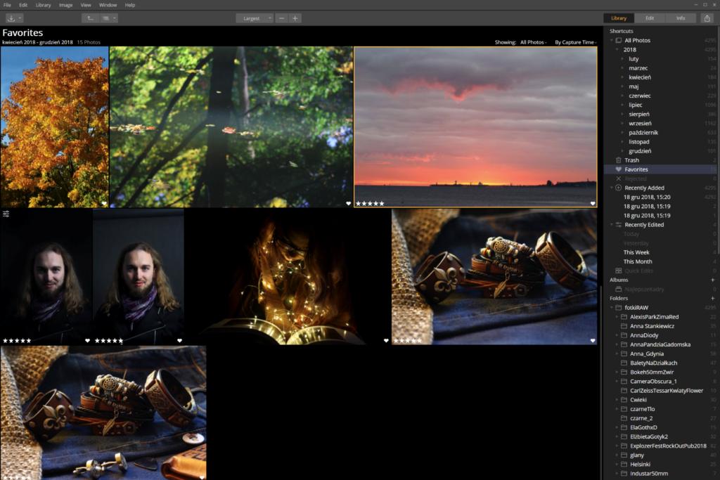 Luminar zarządzanie zdjęciami przykład interfejsu 2