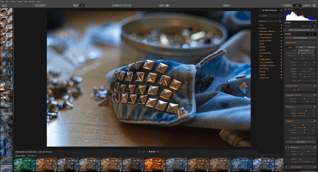 luminar obróbka zdjęcia - przykłady interfejsu i ustawień