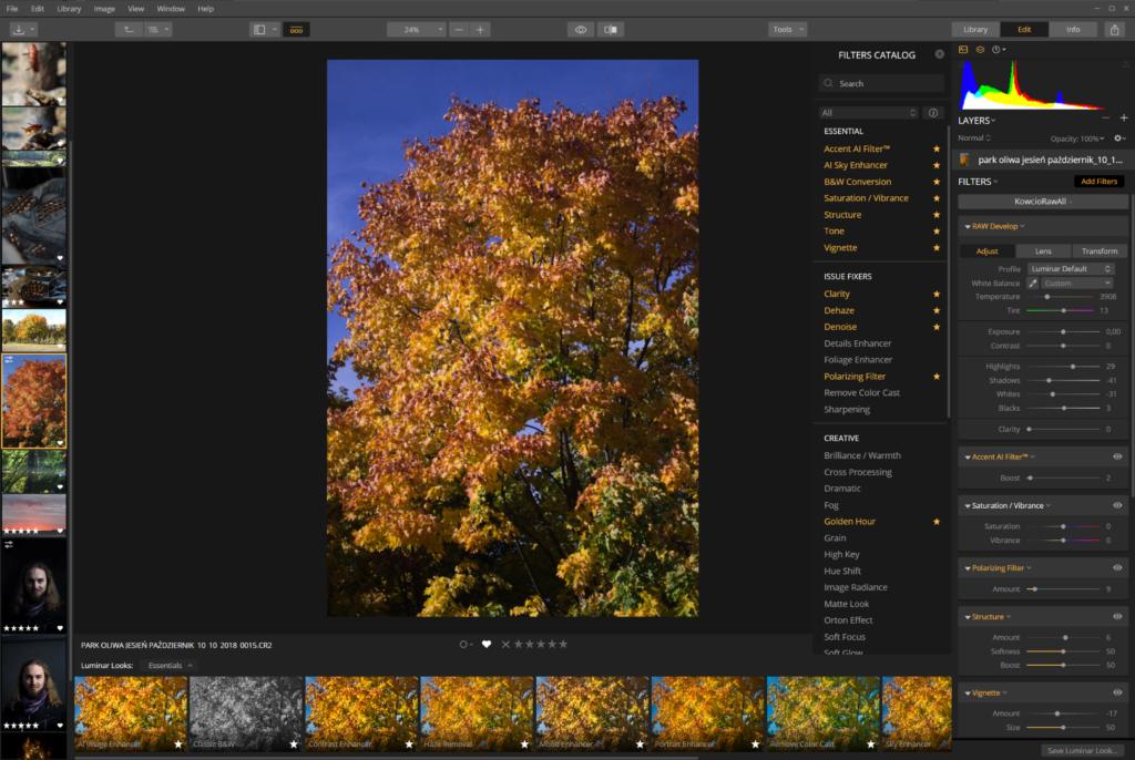 luminar zarządzanie zdjęciami lewy interfejs zdjęć