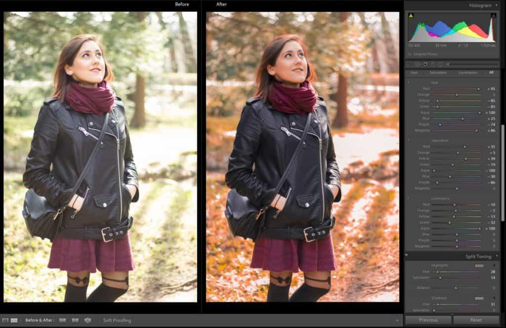 Preset lightroom - jesień - portret - las