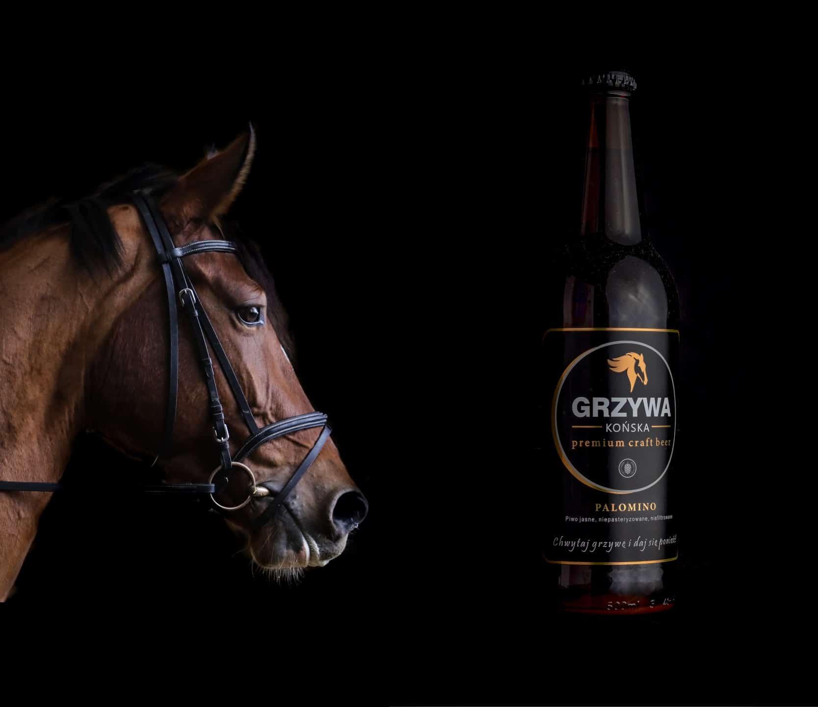Fotografia produktowa butelki piwa Końska Grzywa Browar Rzemieślniczy