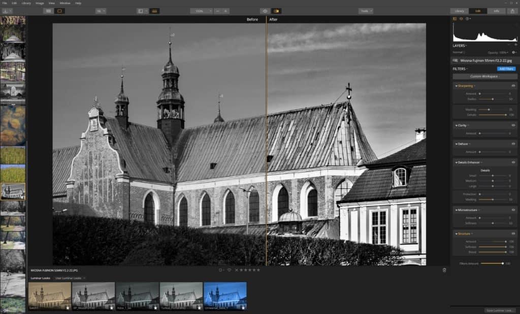 Jak wyostrzyć zdjęcie Luminar -filtr struktura miękkość i wzmocenie