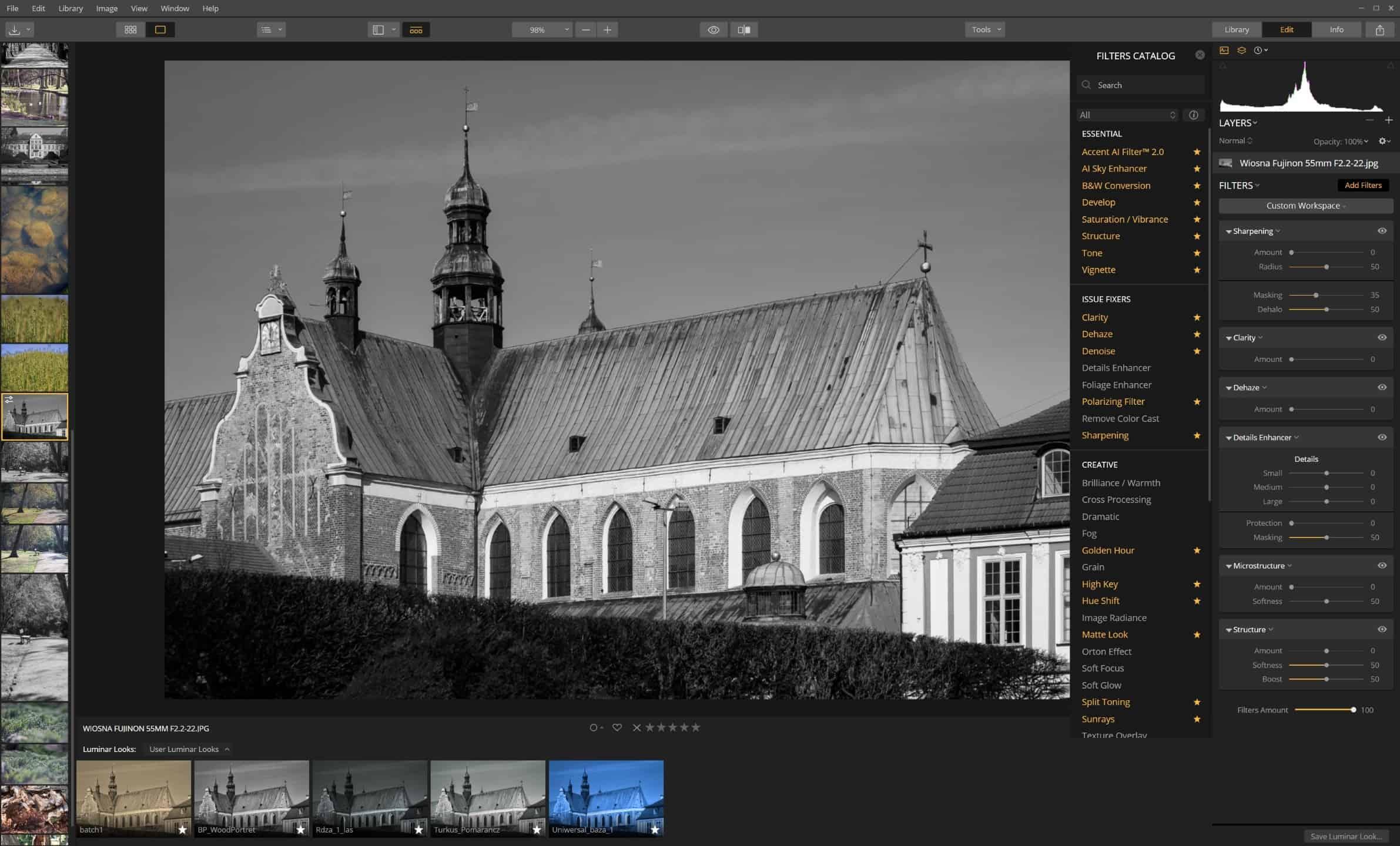 Jak wyostrzyć zdjęcie - Luminar - przykład wszystkich narzędzi i filtrów