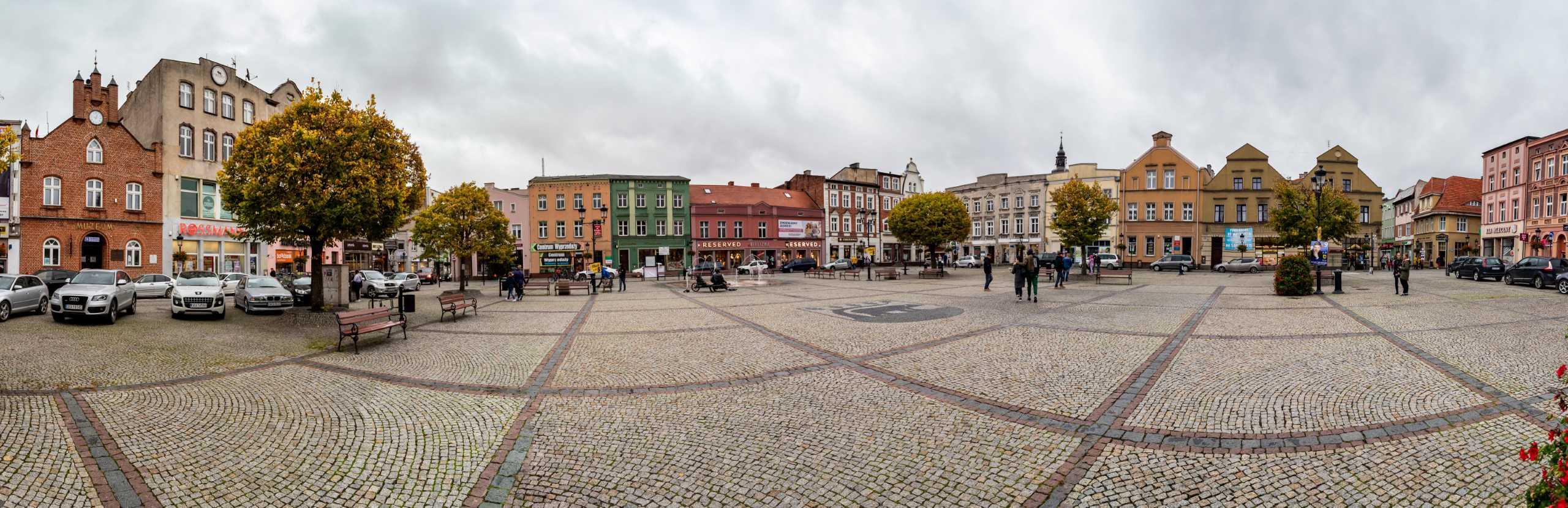 Koscierzyna starówka panorama skweru Kaszuby 67 - Muzeum kolejnictwa Kościerzyna