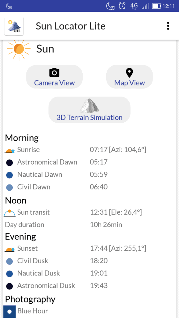 Złota godzina w fotografii aplikacje dla fotografa sun locator lite 576x1024 - Złota godzina w fotografii