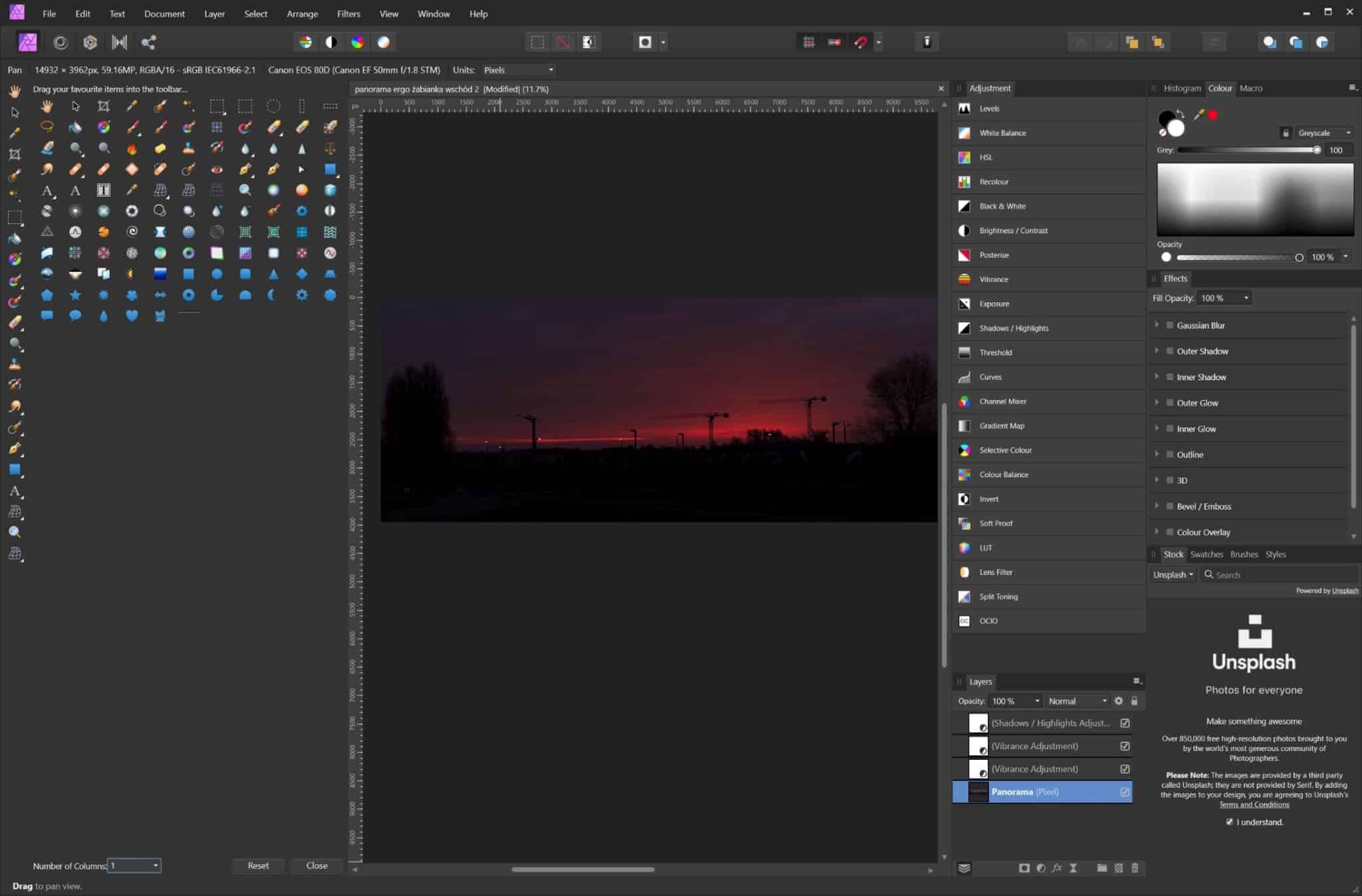 Affinity photo - alternatywa dla photoshopa - ilość narzędzi do wyboru