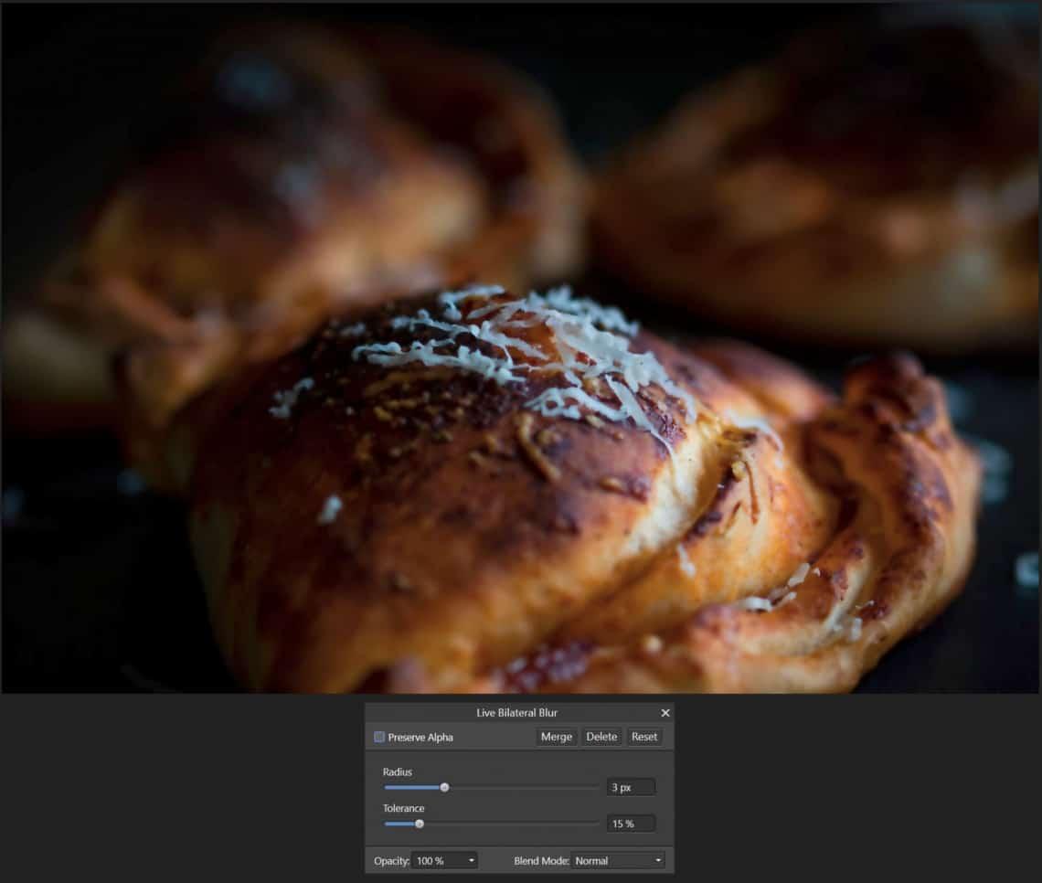 5 sposobów na wyostrzenie zdjęcia- Bilateral Blur - rozmycie - wartości domyślne - Affinity Photo