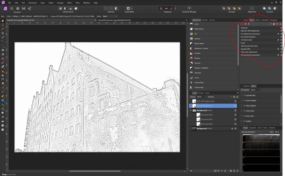 Affinity photo makro szkic ołówkiem - efekt finalny
